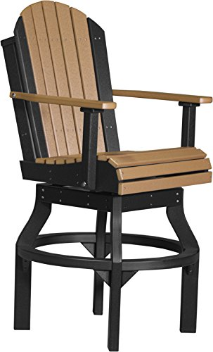 - LuxCraft Recycled Plastic Outdoor Adirondack Poly Swivel Chair with Footrest, 53