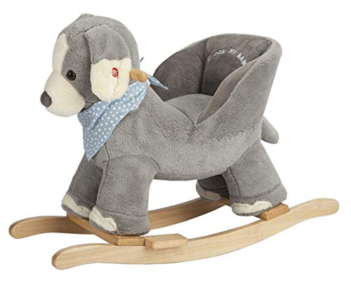 ROCK MY BABY Dog Rocking Horse with Chair,Plush Stuffed Animal Rocker,Wooden Rocking Toy Puppy/Baby Rocker/Animal Ride on,Home Decor,for Girls& Boys,Indoor&Outdoor (Gray Dog/Puppy for 12M+)