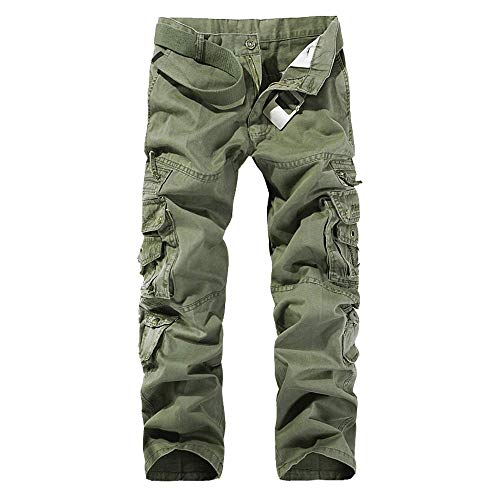 EVEDESIGN Men's Cotton Washed Twill Pants Casual Relaxed Fit Multi-Pocket Wild Cargo Pants