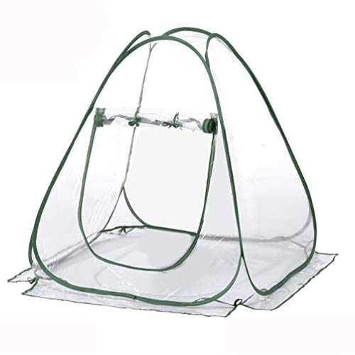 TECHSON Mini Pop-up Greenhouse Tent for Outdoor Garden Warm Flower Plant Grow House Portable Clear PVC Cover with Frame