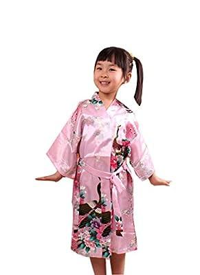 ACVIP Girl's Peacock Pattern Satin Japanese Yukata Kimono NIghtwear Robe
