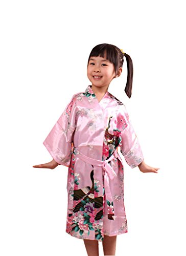 In Rose Kimono Robe Girls Acvip di Dress Flower seta Peacock artificiale Pattern lungo OBEqqw