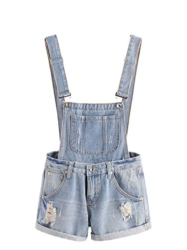 Embroidered Overalls Blue - MAKEMECHIC Women's Ripped Distressed Denim Overall Shorts Romper 5-Blue M