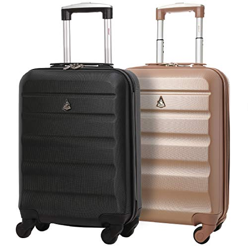 Set of 2 Aerolite 55cm ABS Hard Shell Carry On Hand Cabin Luggage Suitcase (Black + Rose Gold)