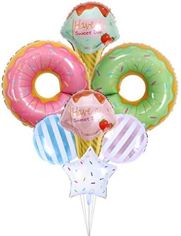 Toyvian アルミ箔バルーンキャンディアイスクリームドーナツ型バルーンパーティー用品7個