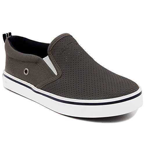 Nautica Kid's Akeley Youth Slip-On Casual Shoe Canvas Sneaker-Akeley-Grey Perf-4