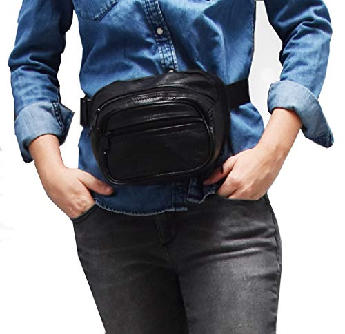 Garrison Grip Concealed Carry 3 Compartment Durable Black Leather Waist Fanny Pack for Small to Medium Pistols with Locking Gun Compartment (Best Self Defense Handgun For Concealed Carry)