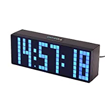 Yosoo Large Big 4 6 Digit Jumbo LED Digital Alarm Calendar Snooze Wall Desk Clock (blue, 6digit version)