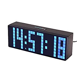 Yosoo Large Big 4 6 Digit Jumbo LED Digital Alarm Calendar Snooze Wall Desk Clock (bule, 6-digit version)