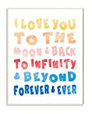 Stupell Home Décor Love To Moon and Back Rainbow Typog Wall Plaque Art, 10 x 0.5 x 15, Proudly Made in USA