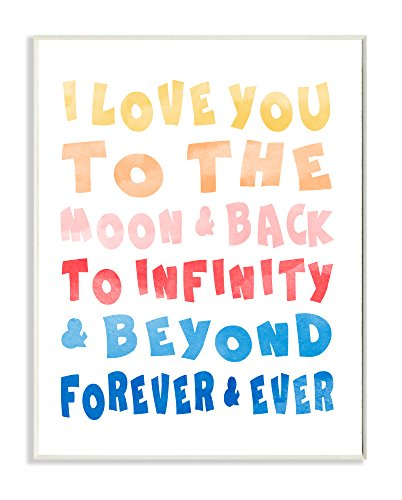 Stupell Home Décor Love To Moon and Back Rainbow Typog Wall Plaque Art, 10 x 0.5 x 15, Proudly Made in USA by The Kids Room by Stupell