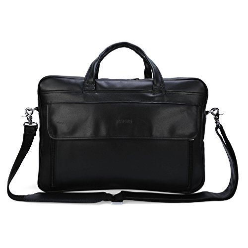 BAIGIO Men's Top-Zip Leather Briefcase 17 Inch Laptop Handbag Lawyers Shoulder Messenger Bag Tote (Black) by BAIGIO