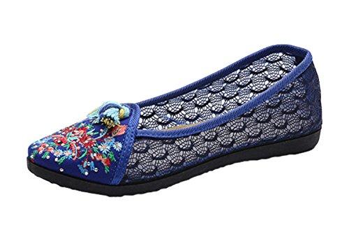 Avacostume Chaud Forage Broderie Femmes Dentelle Semelle En Caoutchouc Chaussures Mocassins Bleu