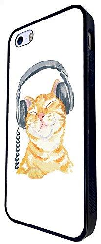 951 - Cool Cute Fun Illustration Cat Kitten Headphone Cat Doodle Feline Funny Kawaii Love Pet Design iphone SE - 2016 Coque Fashion Trend Case Coque Protection Cover plastique et métal - Noir