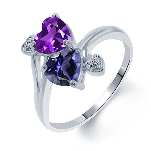Gem Stone King 1.26 Ct Heart Shape Purple Amethyst Blue Iolite 925 Sterling Silver Ring (Size 9) ()
