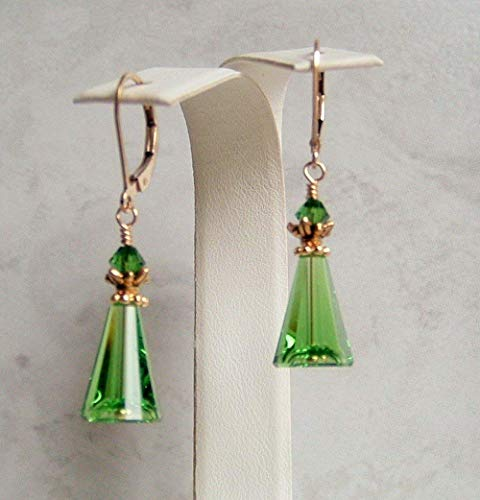 (Fern Green Cone Triangle Gold Filled Leverback Earrings Made With Swarovski Crystals Gift Idea )
