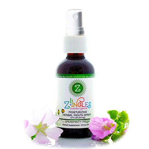 Natural Botanical Dry Mouth Spray by Ziingles - Relieves Your Dry Mouth and Helps Relieve Painful Canker Sores - Refreshing Spearmint Flavor - 2 fl oz (59ml) (Advanced Oral Moisturizer Spray compare prices)