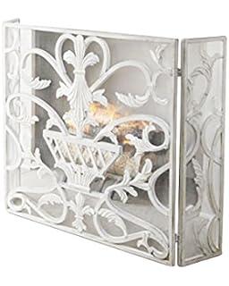french fireplace screens. Lavish White Urn Three Panel Iron Firescreen  European Fireplace Screen Amazon com French Country Home Kitchen