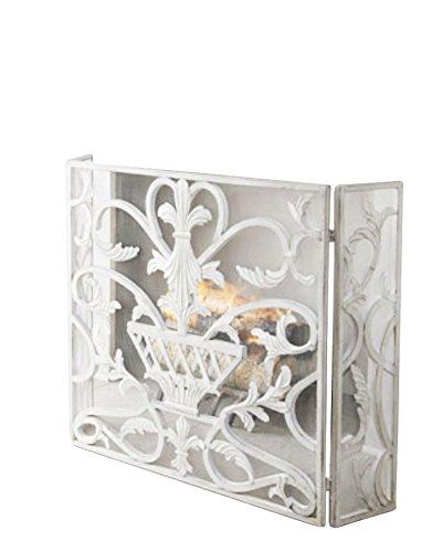 Lavish White Urn Three Panel Iron Firescreen | European Fireplace Screen