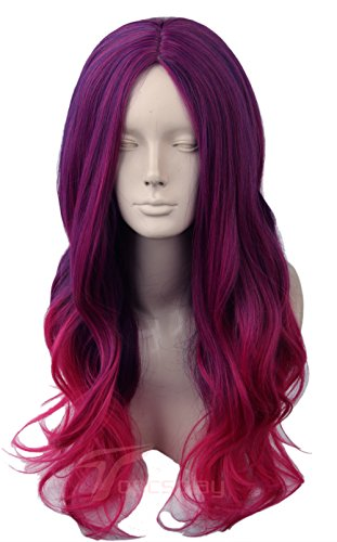 Gamora Costume (Women's Wig Long Wavy Cosplay Halloween Costumes Wig Purple Red Gradient Ombre)