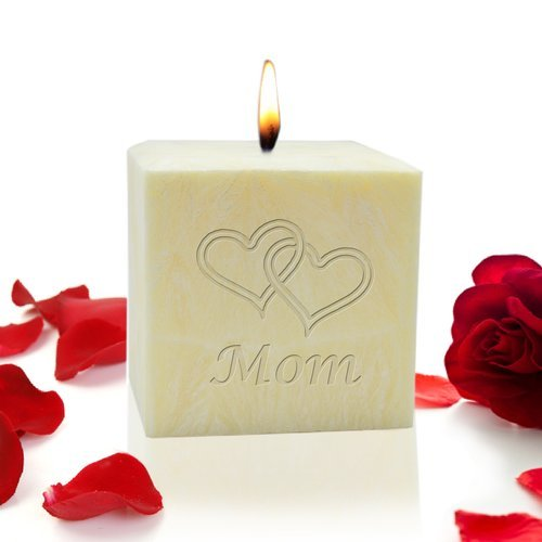OKSLO Carved Solutions Double Heart Mom Lavender Flameless Candle ()