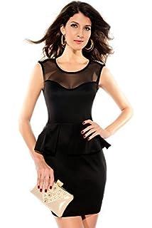 fea56097cde Fancy Me Ladies Black Red White Studded Shoulder Mini Peplum Christmas  Party Dress UK 8-