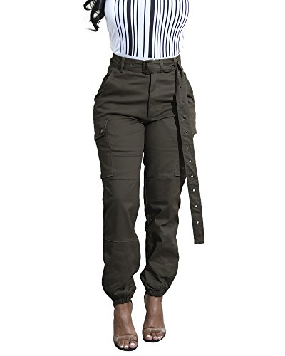 Cosygal Women's Casual Loose Cargo Pants Trousers Jogger with Belt