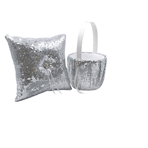 Abbie Home Sequin Glitter Wedding Flower Basket + Ring Pillow Sparkle Rhinestone Décor Wedding Party Favor-Silver