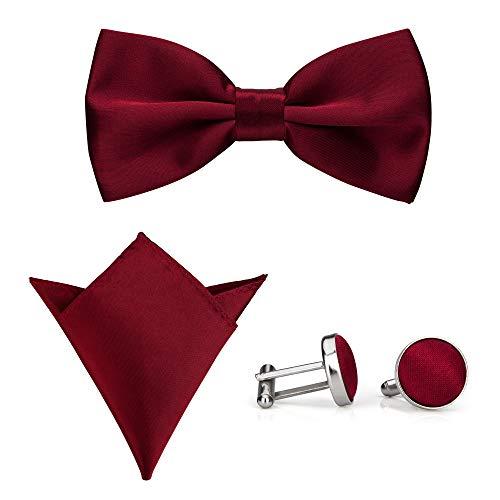 A rosso gemello Men's 3 Tie Set da taschino P Bow vino da Fazzoletto con Donovan 6xHrR6wq4