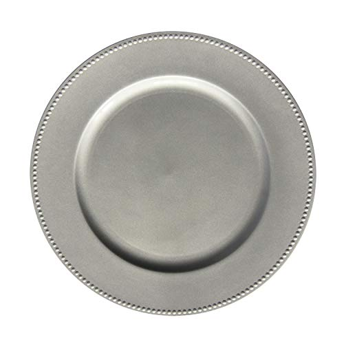 Silver Plastic Beaded Charger Plates - 12 pcs 13 Inch Round Wedding Party Decroation Charger Plates (Silver, 12)