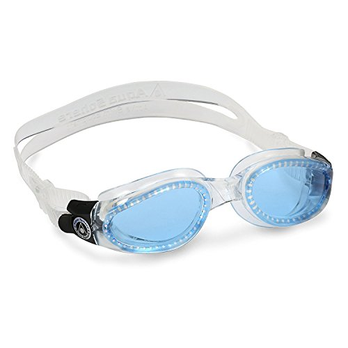 Aqua Sphere Kaiman Swim Goggle (Small, Blue Lens/Transparent - Lenses Goggles With Swimming
