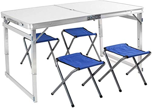 Tiptiper Portable Picnic Table Camping Table with 4 Stools, 4 ft Folding Table for Utility Outdoor Use