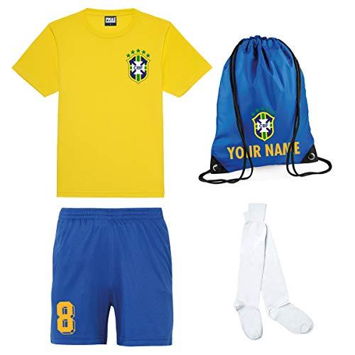 Print Me A Shirt Kit del Equipo de Brasil Brazil Personalizable para Ninos con Camiseta de Futbol, Pantalones Corto…