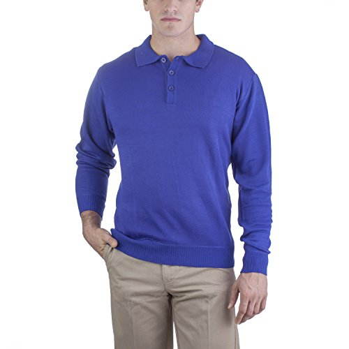 Alberto Cardinali Men's Solid Color Polo Style Sweater VSP1 (Large, Royal)