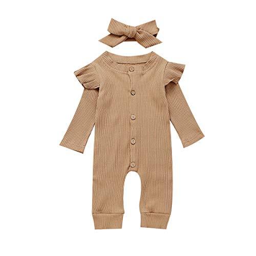 Seyurigaoka Newborn Baby Girls One Piece Jumpsuit, Infant Girl Knitted Romper Ruffle Long Sleeve Basic Bodysuit Underwear(Camel 0-6M)