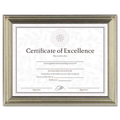 DAX Antique Colored Document Frame w/Certificate, Metal, 8-1/2 x 11, Silver
