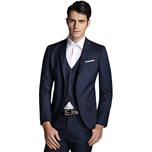 Men's Notch Lapel Modern Fit Suit Blazer Jacket Tux Vest (Dress Suit Blue 3 Piece)