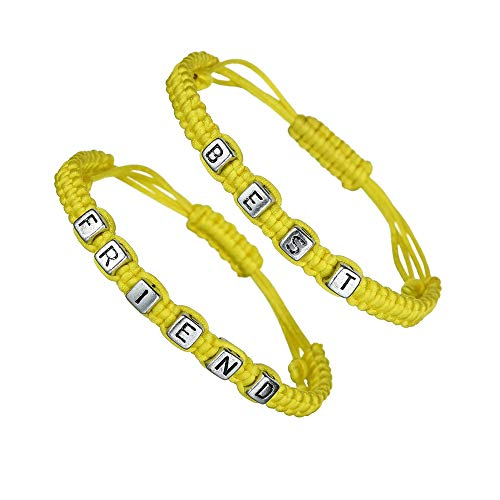 (CALIS Matching Couples Best Friends Bracelets Set of 2 Cord Bracelet Distance Friendship String Wristband,Yellow )