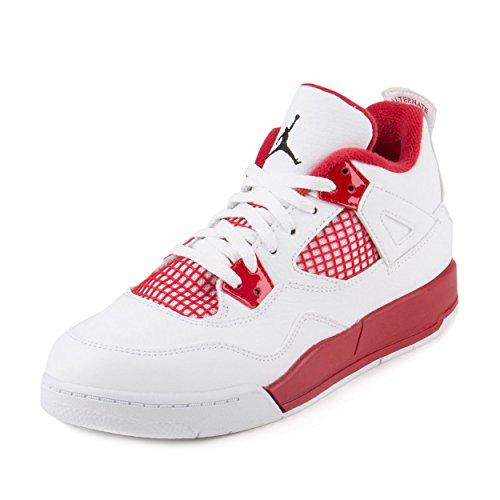 AIR JORDAN [308499-106] AJ 4 Retro BP (PS) Pre-School Shoes White/Black Gym Red (Jordan Shoes For Boys Ps)