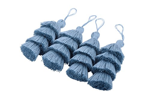 KONMAY 4pcs 3.0(7.5cm) 4 Layers Craft Jewelry Layered Tassels with Hang Loop (Cadet Blue)