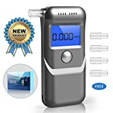 Breathalyzer, Portable Breath Alcohol Tester with LED Screen 3 Colors LCD Display and 5 Mouthpieces