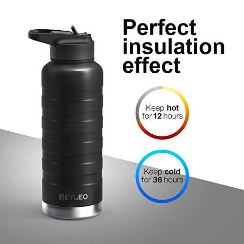 REYLEO Insulated Water Bottle with Straw Lid- 32 Oz Black, 2 Lids, 18/8 Stainless Steel Water Bottle, Keep Cold 36 Hours& Hot 12 Hours, Standard Mouth with Straw Lid