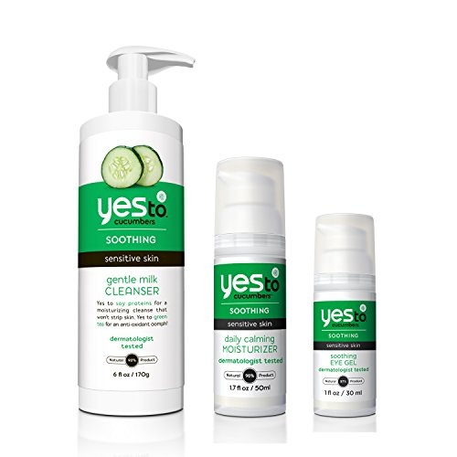 Yes To Cucumbers Face Kit (Soothing Eye Gel, Gentle Milk Cleanser, Daily Calming (Cucumber Moisturizer)