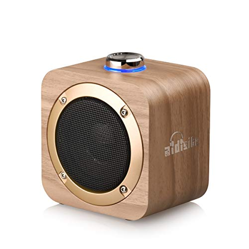 AIDISITE Wooden Bluetooth Speaker Knob Tuning Volume of Sound,Portable 3D Stereo Music Sound Speaker,for Home and Outdoor Party