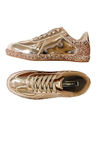 ROXY ROSE up Womens Shoes Rose Flats Gold Sneakers Lace Metallic Leather Glitter Sneaker Fashion rSAwq1xnr