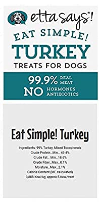 ETTA SAYS! Eat Simple Freeze Dried Treats for Dogs - Pack of 2 - Made in The USA, 100% Real Meat, No Hormones or Antibiotics (Turkey)