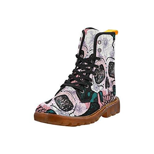 Zapatos D-story Cool Skull Lace Up Martin Botas Para Mujeres