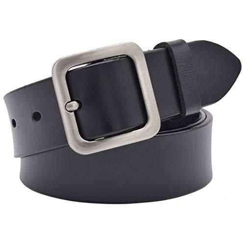 Womens Belts, Lehosek Leather Dress Belts for Jeans, Gold Buckle Belt for Ladies (Black 1, for waistline 31