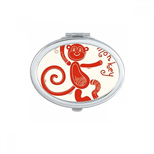 DIYthinker Year Of Monkey Animal China Zodiac Red Oval Compact Makeup Mirror Portable Cute Hand Pocket Mirrors Gift by DIYthinker