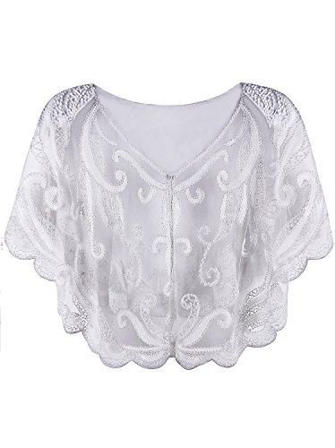 Vijiv Womens Vintage 1920s Beaded Flapper Shawl Inspired Sequin Bolero Shrugs Evening Capelet Cover Up